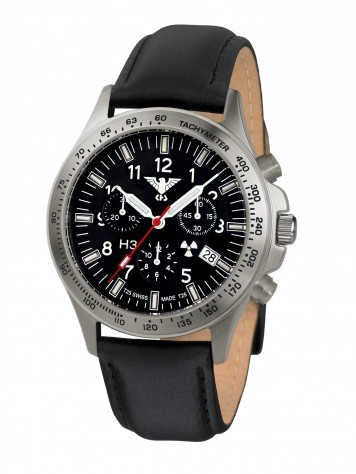 KHS Platoon Chronograph Titan Lederband schwarz